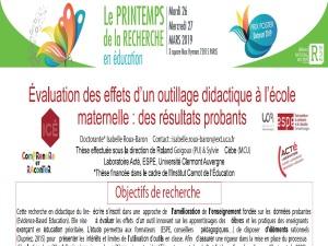 Poster de Isabelle Roux-Baron présenté au 5ème Printemps de la recherche